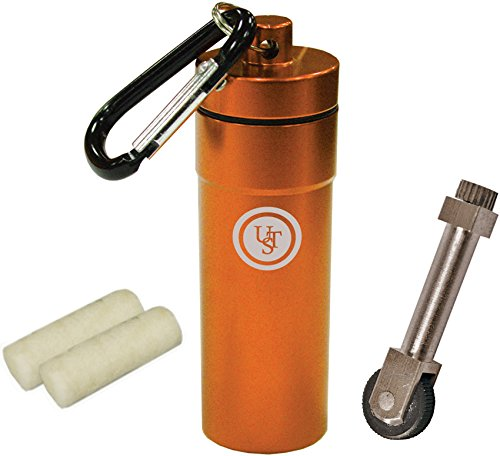 (UST Stoke Kit with Micro SparkWheel Fire Starter and Two Light-Me Tinder Pieces in the Waterproof Compact BASE Case Great for Camping, Backpacking, Outdoor Survival and More)