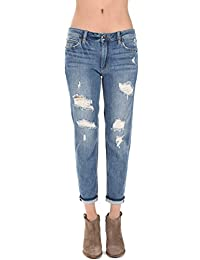 Just USA Women's High Rise Distressed Boy fit Boyfriend Jeans