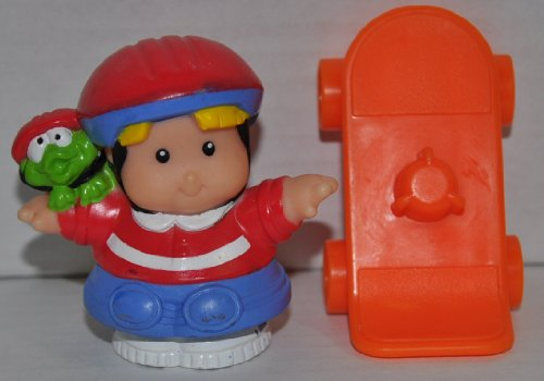 Little People Skater Eddie & Orange Skate Board (2004) - Replacement Figure - Classic Fisher Price Collectible Figures - Loose Out Of Package & Print (OOP) - Zoo Circus Ark Pet Castle
