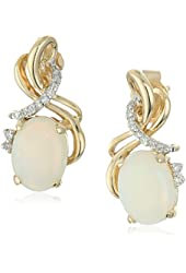 14k Yellow Gold Oval Opal and Diamond Accent Drop Earrings