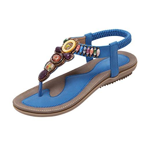 Bleu File Plat Flops Eté Sandales de Frestepvie Toe Peep Bohême Femme Printemps Tongs Flip Casual Chaussure Plage waqxqUI8