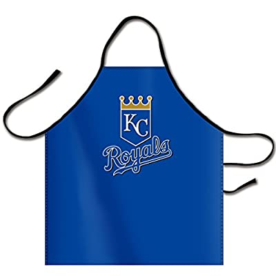 Kaylin MLB KC/KAN Kansas City Royals Logo Bib Apron Canvas Chef Apron Cooking Apron Professional Apron for Cooking, Grill and Baking 32-Inch Length by 28-Inch Width