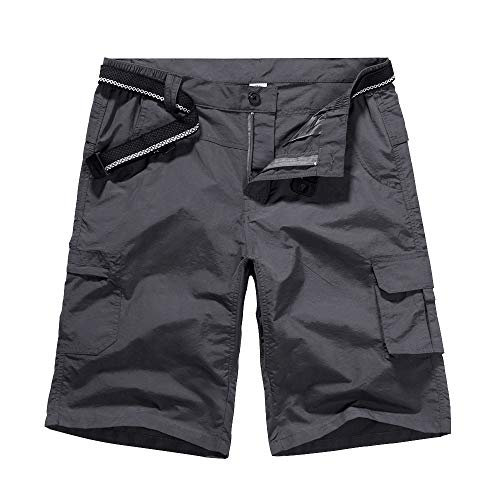 Men's Outdoor Casual Expandable Waist Lightweight Water Resistant Quick Dry Cargo Fishing Hiking Shorts #6053-Grey,29
