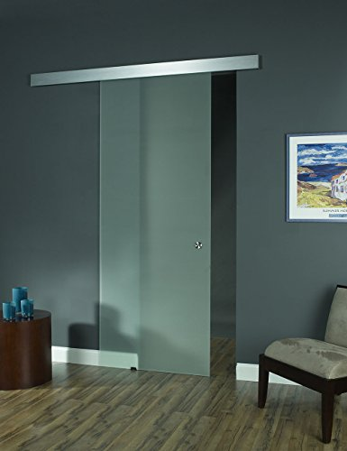 Pinecroft 8BDGL3696OP Opaque Interior Glass Barn Door, 36...