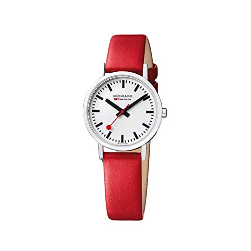 Dial Steel Strap - Mondaine Women's Classic 30 mm Watch with Stainless Steel Polished Case White Dial and red Leather Strap Strap A658.30323.11SBP
