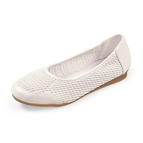 Collections Etc Flexible Comfort Stretch Knit Slip On Ballet-Style Flat Shoe, White, - Flat Ballet Stretch