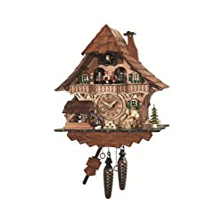 Engstler Quartz Cuckoo Clock Black Forest House with Moving Wood Chopper and Mill Wheel, with Music EN 496 QMT