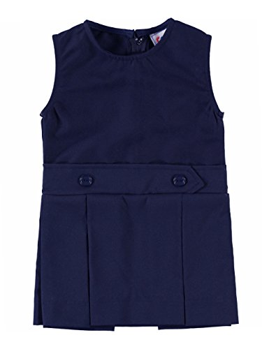 Cookie's Brand Little Girls' Bib Front Jumper with Kick Pleats - navy, 6x by Cookie's Kids