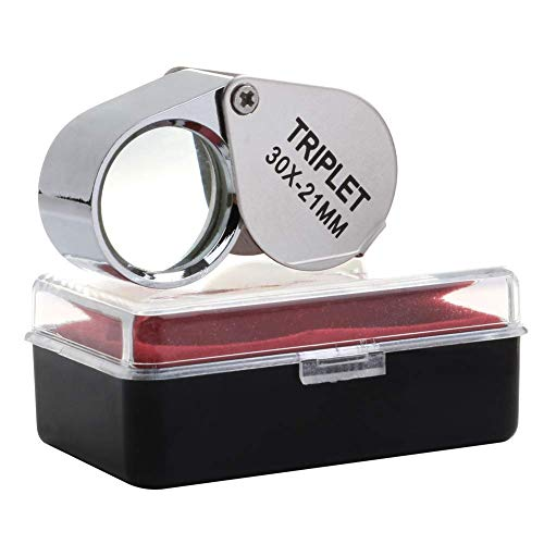 Jewelers Eye Loupe Magnifier 30X 21mm, Foldable Magnifying Glass Powerful Triplet with Case, Chrome Plated Eye Loop for Gardening Gems Coins Stamps Rocks Watches Hobbies Antiques ()