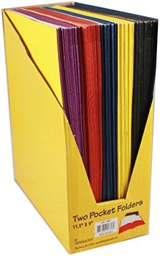 Bulk Two Pocket Folders - 9'' x 11.5'' 100 pcs sku# 532678MA by A+Homework