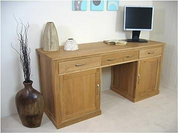 mobel oak hidden twin. Mobel Oak Large Hidden Office Twin Pedestal Desk