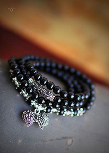 The new black agate three laps multi - layer bracelet ultra - high cost sterling silver bow