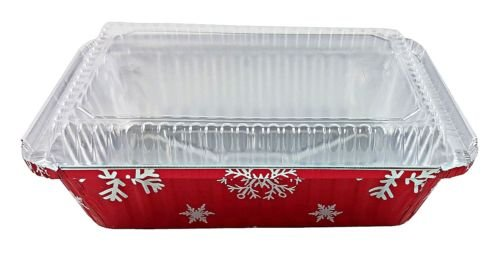 Durable Packaging 2 1/4 lb. Oblong Holiday X-Mas Foil Pan w/Clear Dome Lid - Red Aluminum (pack of 100) by Durable Packaging (Image #2)