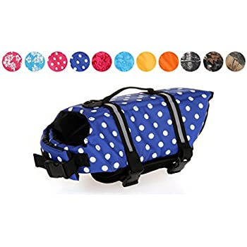 GabeFish Dog Life Jacket Vest Safety Clothes Collar Harness Saver Pet Swimming Preserver Reflective Strip Swimwear DotBlue X-Large