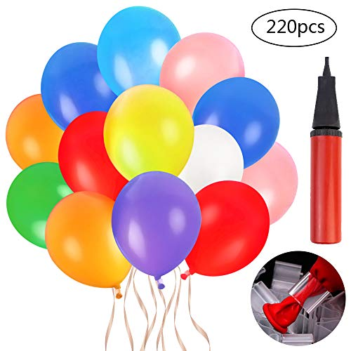 Coceca 220pcs 12 inches Assorted Color Party Balloons with Hand Held Air Pump and Balloon (Best Counts With Balloon Pumps)