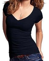 Short Sleeve V-neck Tee Tank Top Shirt Cotton