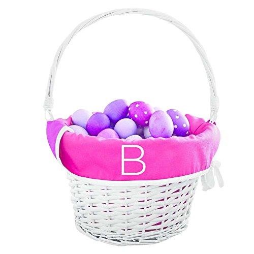 Monogram Easter Basket Liner Letter B Reversible Pink and White ()