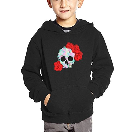Watercolor Red Rose Skull Design Kid's Fashion Popular Hooded Hoodies With Pocket