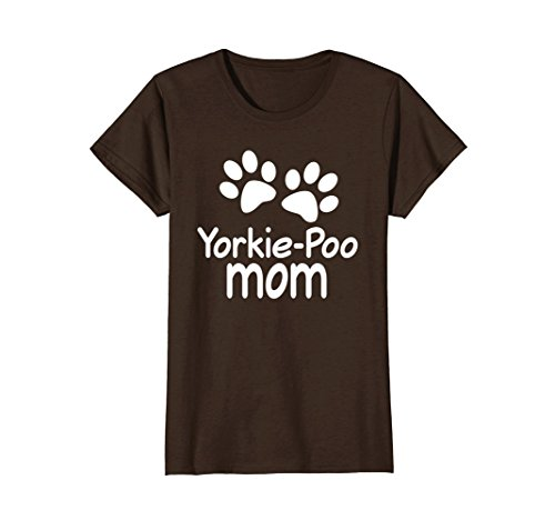 Womens Yorkie-Poo Mom T-shirt Paw Print Pet Tee XL Brown