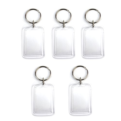 5Pcs Transparent Blank Acrylic Photo Picture Frame Keyring Keychain DIY Key Ring