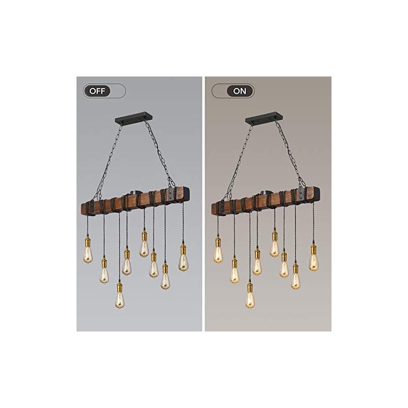 Flordeer Farmhouse Chandelier Rustic Pendant Lighting Industrial Wood Metal Vintage Ceiling Light Fixture 8 E26 Bulb…