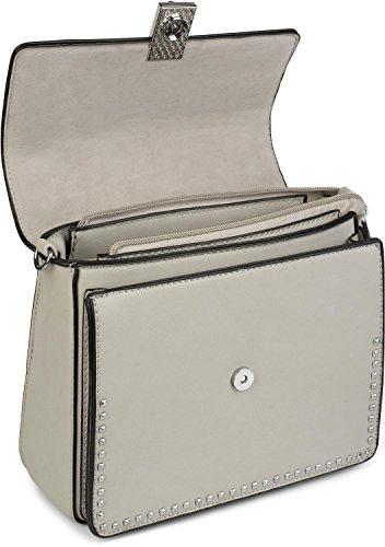 styleBREAKER Satchel Henkeltasche mit Pyramiden Nieten, Handtasche, Tasche, Damen 02012216, Farbe:Beige Creme