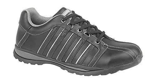 Amblers Steel Lace-Up Textile Mesh Lined Mens Shoes - Black - Size 9