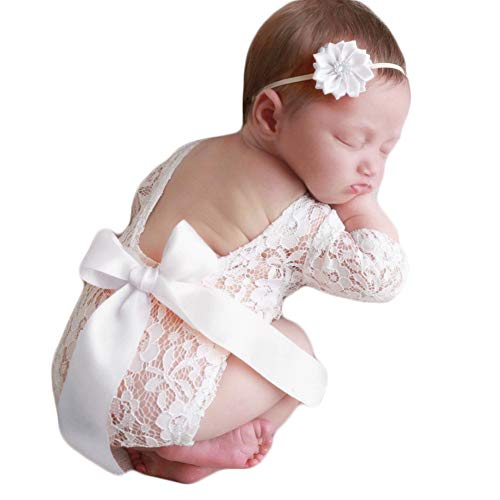 Baby Photography Props Lace Rompers Headdress Newborn Girl Photo Shoot Outfits Set Infant Princess Costume (White)