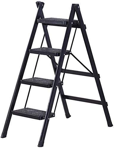 Taburete plegable, fácil y multifunción, plegable, escalera de 4 peldaños Taburete de peldaño compacto con escalera de tijera con marco de acero de pedal ancho antideslizante, capacidad de 120 kg, rojo: Amazon.es: