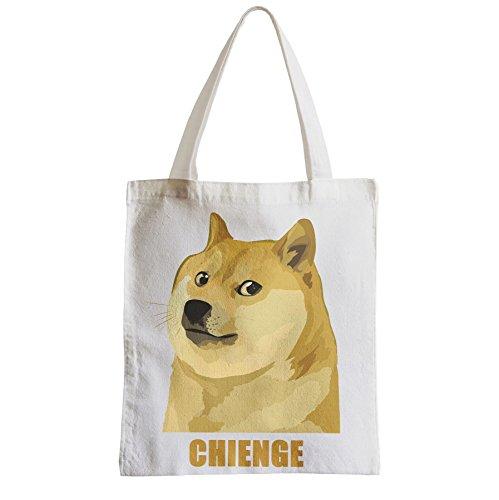 Große Tasche Sack Einkaufsbummel Strand Schüler auf dem Hund Chienge wEp0LATP