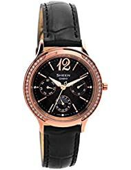 Casio SHE-3030GL-5AUER Ladies Sheen Black Leather Strap Watch