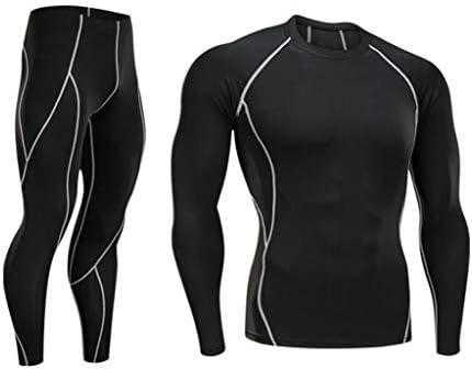 メンズフィットネスセット、スポーツタイツ2ピースセット、トレーニングランニングウエアレギンス、速乾、長袖Tシャツ (Color : Gray, Size : M)