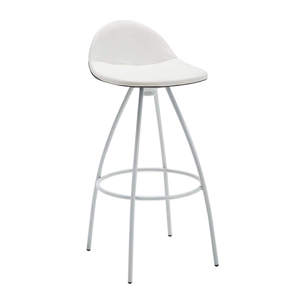 White2 Lxn Modern Minimalist Wrought Iron Bar Stools Dining Room Chairs, Bar Height-70cm,Metal Leg PU Leather Cushion with backrest (1-PCS)
