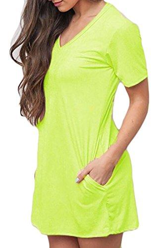 V Mini Womens Jaycargogo Casual Dress Short Summer Sleeve Neck 1 Loose 8qEnrfZqd
