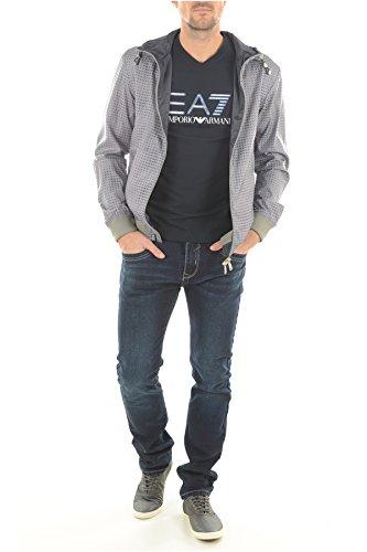 Con Cappuccio Reversibile Blu Jeans Logo Grigio Armani Giacca qwt1xIIU