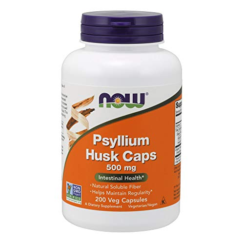NOW Supplements, Psyllium Husk Caps 500 mg, Non-GMO Project Verified, Natural Soluble Fiber, Intestinal Health*, 200 Veg Capsules