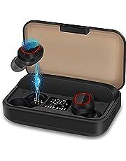 bakibo Trådlösa Hörlurar Bluetooth 5.1, Hörlurar för Hörlurar med Hörlurar Mikrofon Sport Hörlurar med 3100mAh LCD-laddningsfodral, 120H Speltid, USB C, CVC 8.0 Pekskärm, för gymning