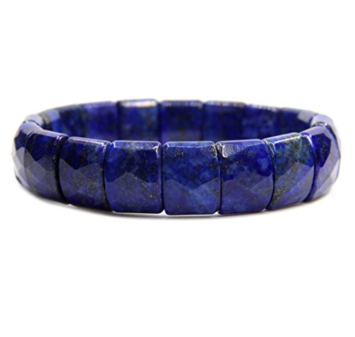 Amandastone Natural Lapis Lazuli Genuine Semi Precious Gemstone 15mm Square Grain Faceted Beaded Stretchable Bracelet 7