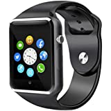 Smart Watch, Sazooy Bluetooth Touchscreen Smart Wrist Watch Smartwatch Phone Fitness Tracker with SIM SD Card Slot Camera Pedometer Compatible iOS iPhone Android Samsung for Women Kids Men (Black)