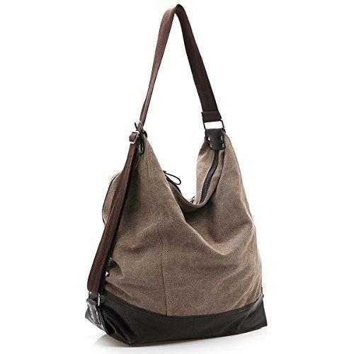 Womens Brown Beige Navy Compartments Zipped Main Soft Tan Nappa Handbag Shoulder with Super Bag Black Two VADOOLL Brown FqOSdwF