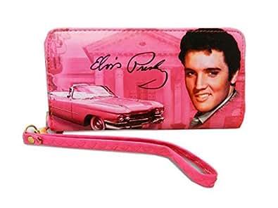Elvis Presley Around Zip Closure Wallet Pink Size: Medium