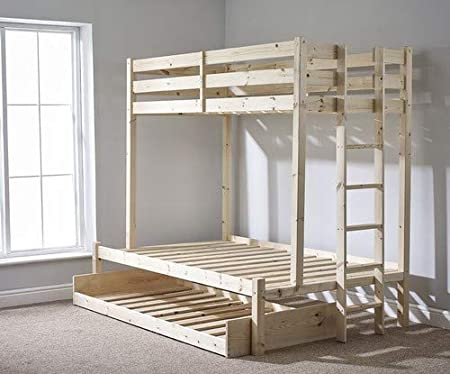 Triple Sleeper Bunk Bed With Trundle 4ft 6 Double Three Sleeper Bunkbed Can Be Used By Adults Amazon Co Uk Kitchen Home