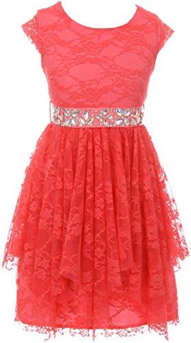 - Little Girls Cap Sleeve Floral Lace Rhinestones Belt Asymmetrical Princess Flower Girl Dress Coral 6 (2J0K9S5)