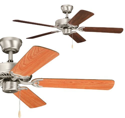 Kichler Lighting 339010NI7 Sterling Manor 52-Inch Ceiling Fan, Brushed Nickel Finish with Reversible Cherry/Walnut Blades and Light Kit (Lamp Table Walnut Nickel)