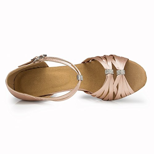 Kevin Latin Ballroom Women's Beige Fashion Dance Satin Sandals Shoes Wedding Evening rtwr1qO