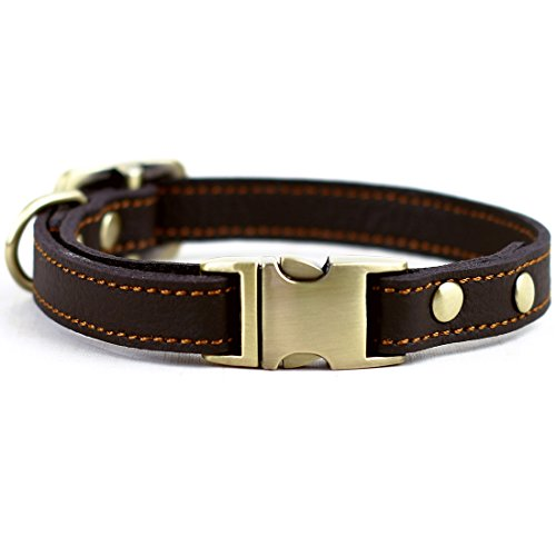 CHEDE Luxury Real Leather Dog Collar- Handmade For Small Dog Breeds With The Finest Genuine Leather-Best Quality Collar That Is Stylish ,Soft Strong And Comfortable-Brown Dog Collar - Real Leather Dog