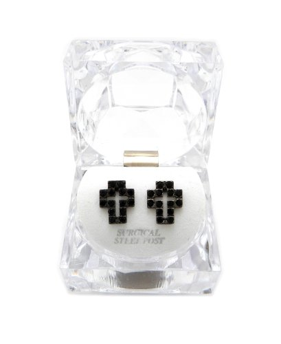 Lucite Pierced Earrings (New Iced Out Cross Piece Pierced Post Fashion Earring w/Clear Lucite Box EX028BK)