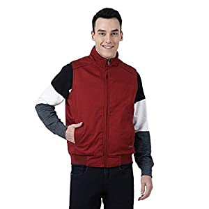 Monte Carlo Maroon Solid Polyester Round Neck Jacket