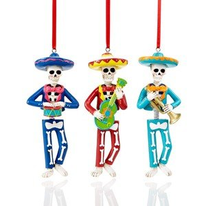 Party Explosions Day The Dead Mariachi Skeleton Band Ornaments - Set of 3 -