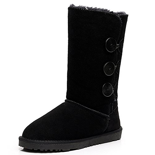 Cuero Tacón Negro Nieve Hebilla Anti Deslizante Botas Mujer Shenn Ante Bajo Comodidad SN1073 1FWnSTT8